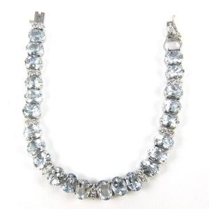 Jewelry - Aquamarine & Diamond Tennis Bracelet 14K WG 27.1Ct